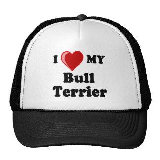 Amo (corazón) mi perro de bull terrier gorras
