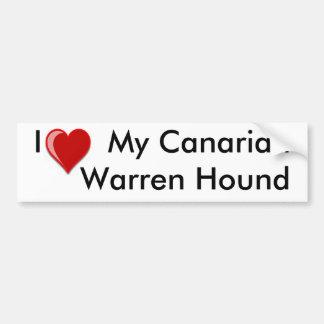 Amo (corazón) mi perro de caza canario de Warren Etiqueta De Parachoque