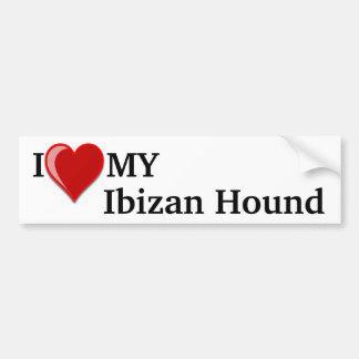 Amo (corazón) mi perro de caza de Ibizan Pegatina Para Coche