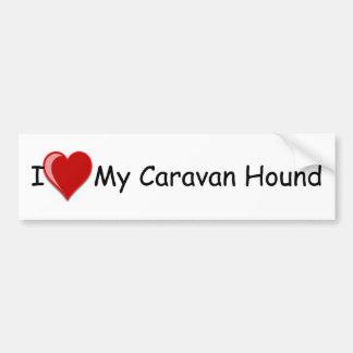 Amo (corazón) mi perro de caza de la caravana pegatina de parachoque