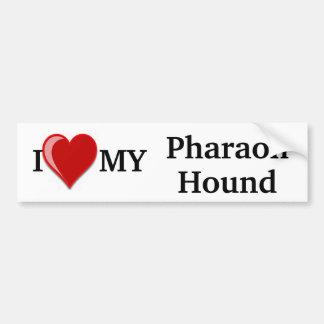 Amo (corazón) mi perro de caza del Pharaoh Pegatina De Parachoque