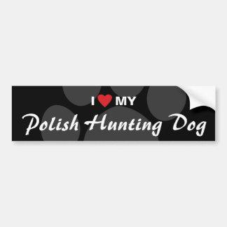 Amo (corazón) mi perro de caza polaco pegatina para coche