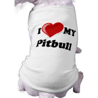 Amo (corazón) mi perro de Pitbull Camiseta De Perro
