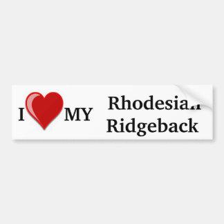 Amo (corazón) mi perro de Rhodesian Ridgeback Pegatina De Parachoque