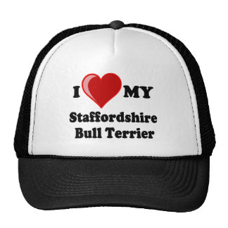 Amo (corazón) mi perro de Staffordshire Bull Gorras