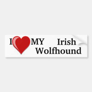 Amo (corazón) mi perro del Wolfhound irlandés Pegatina De Parachoque