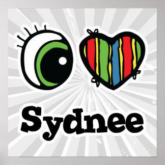 Amo (corazón) Sydnee Póster