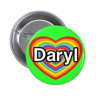 Amo Daryl: corazón del arco iris Chapa Redonda De 5 Cm