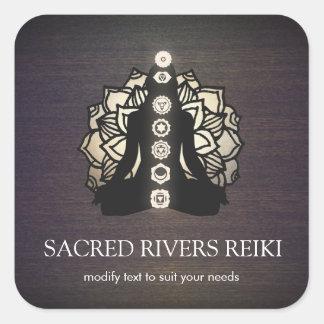 Amo de Lotus Chakra Reiki del oro y profesor de la Pegatina Cuadrada
