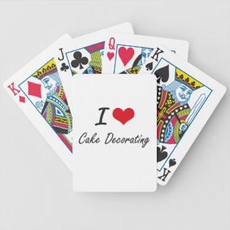 Amo diseño artístico de adornamiento de la torta baraja cartas de poker