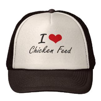 Amo diseño artístico de la alimentación de pollo gorra