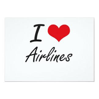 Amo diseño artístico de las líneas aéreas invitación 12,7 x 17,8 cm