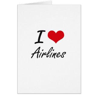 Amo diseño artístico de las líneas aéreas tarjeta de felicitación