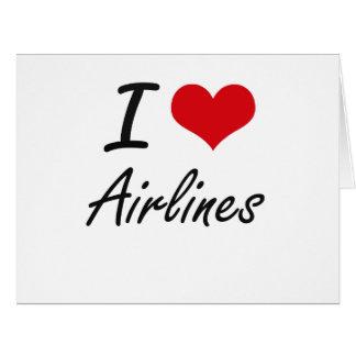 Amo diseño artístico de las líneas aéreas tarjeta de felicitación grande