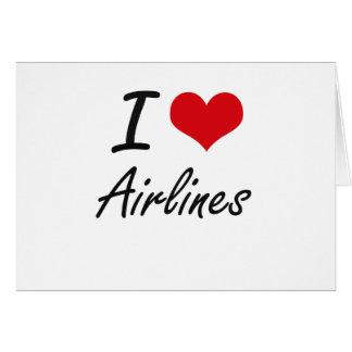 Amo diseño artístico de las líneas aéreas tarjeta pequeña