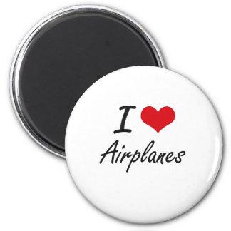 Amo diseño artístico de los aeroplanos imán redondo 5 cm