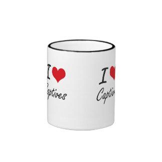 Amo diseño artístico de los cautivos taza a dos colores