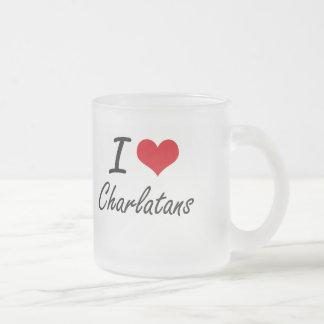 Amo diseño artístico de los charlatanes taza cristal mate