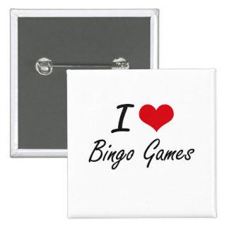 Amo diseño artístico de los juegos del bingo chapa cuadrada 5 cm