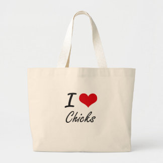 Amo diseño artístico de los polluelos bolsa tela grande