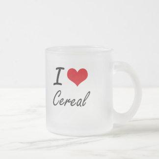 Amo diseño artístico del cereal taza cristal mate