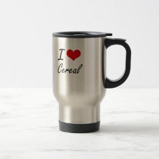 Amo diseño artístico del cereal taza de viaje de acero inoxidable