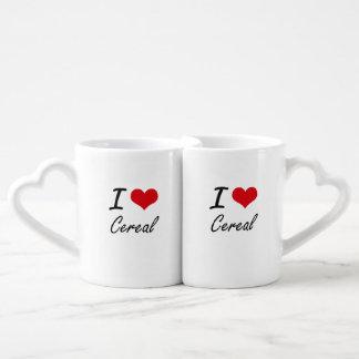 Amo diseño artístico del cereal tazas para enamorados