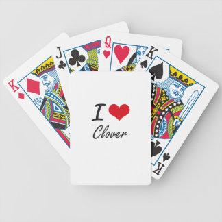Amo diseño artístico del trébol baraja de cartas