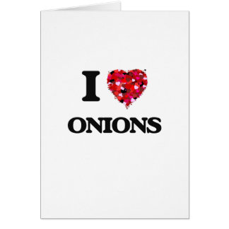 Amo diseño de la comida de las cebollas tarjeta de felicitación