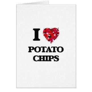 Amo diseño de la comida de las patatas fritas tarjeta de felicitación