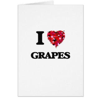 Amo diseño de la comida de las uvas tarjeta de felicitación