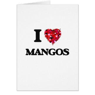 Amo diseño de la comida de los mangos tarjeta de felicitación