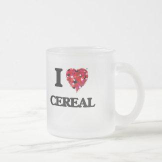 Amo diseño de la comida del cereal taza cristal mate