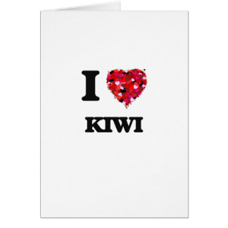 Amo diseño de la comida del kiwi tarjeta de felicitación