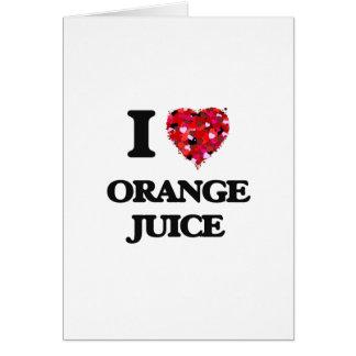 Amo diseño de la comida del zumo de naranja tarjeta de felicitación