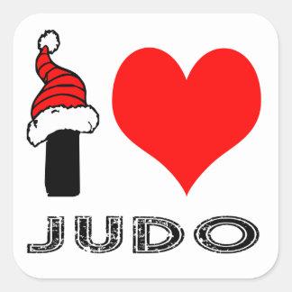 Amo diseño del judo calcomanias cuadradas