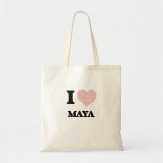 Amo diseño del maya (corazón hecho de palabras) bolsa lienzo