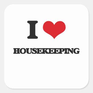 Amo economía doméstica pegatina cuadrada