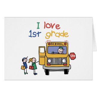 Amo el 1r grado tarjeta de felicitación
