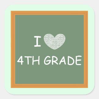 Amo el 4to grado pegatina cuadradas personalizada