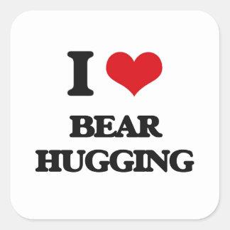 Amo el abrazo del oso pegatina cuadrada