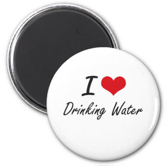 Amo el agua potable imán redondo 5 cm