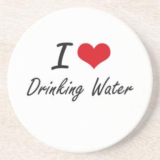Amo el agua potable posavasos de arenisca
