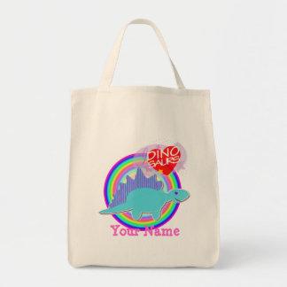 Amo el arco iris azul de Dino de los dinosaurios s Bolsa Tela Para La Compra