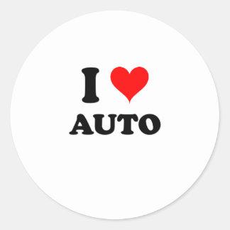 Amo el auto pegatina redonda