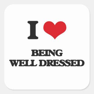Amo el Bien-Ser vestido Calcomanias Cuadradas