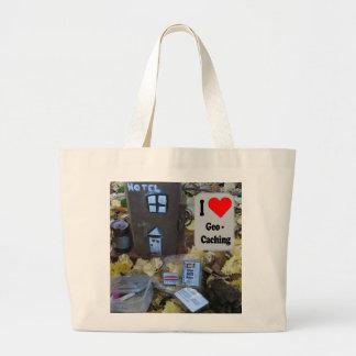 Amo el bolso de Geocaching: Piel del poste de la