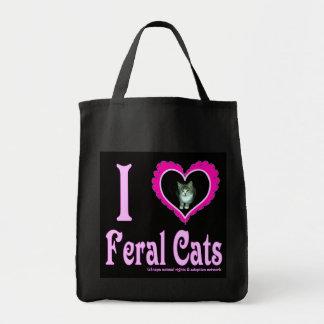 Amo el bolso de ultramarinos salvaje de los gatos
