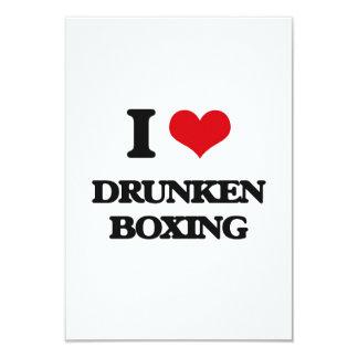 Amo el boxeo borracho invitación 8,9 x 12,7 cm