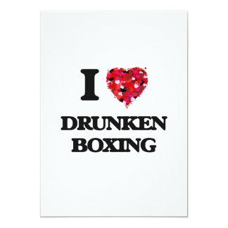 Amo el boxeo borracho invitación 12,7 x 17,8 cm